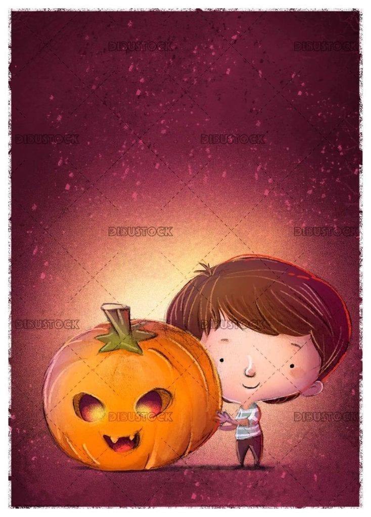 little boy catching a giant halloween pumpkin