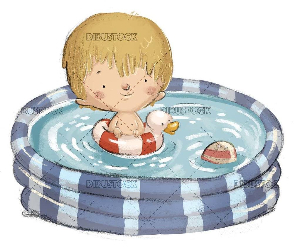 little boy with duckling float in the small pool