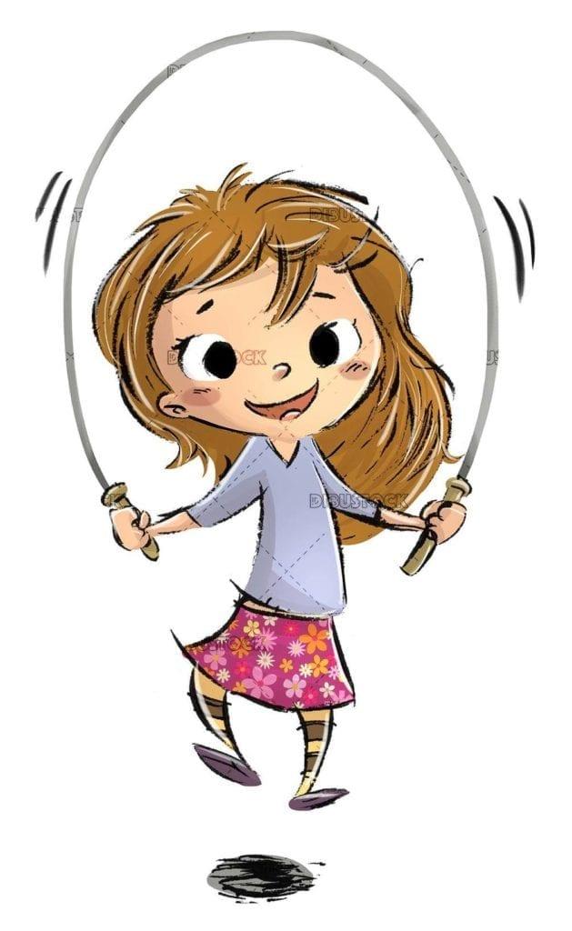 little girl skipping rope