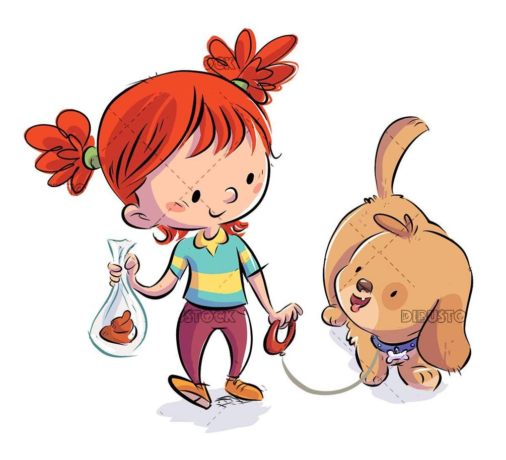 little girl with dog walking collecting droppings in a bag