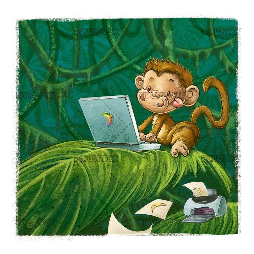 monkey with computer and printer in the jungle