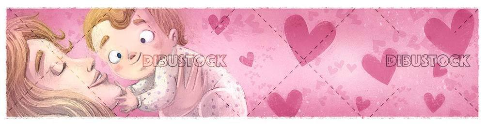 mother catching her baby in her arms on pink background