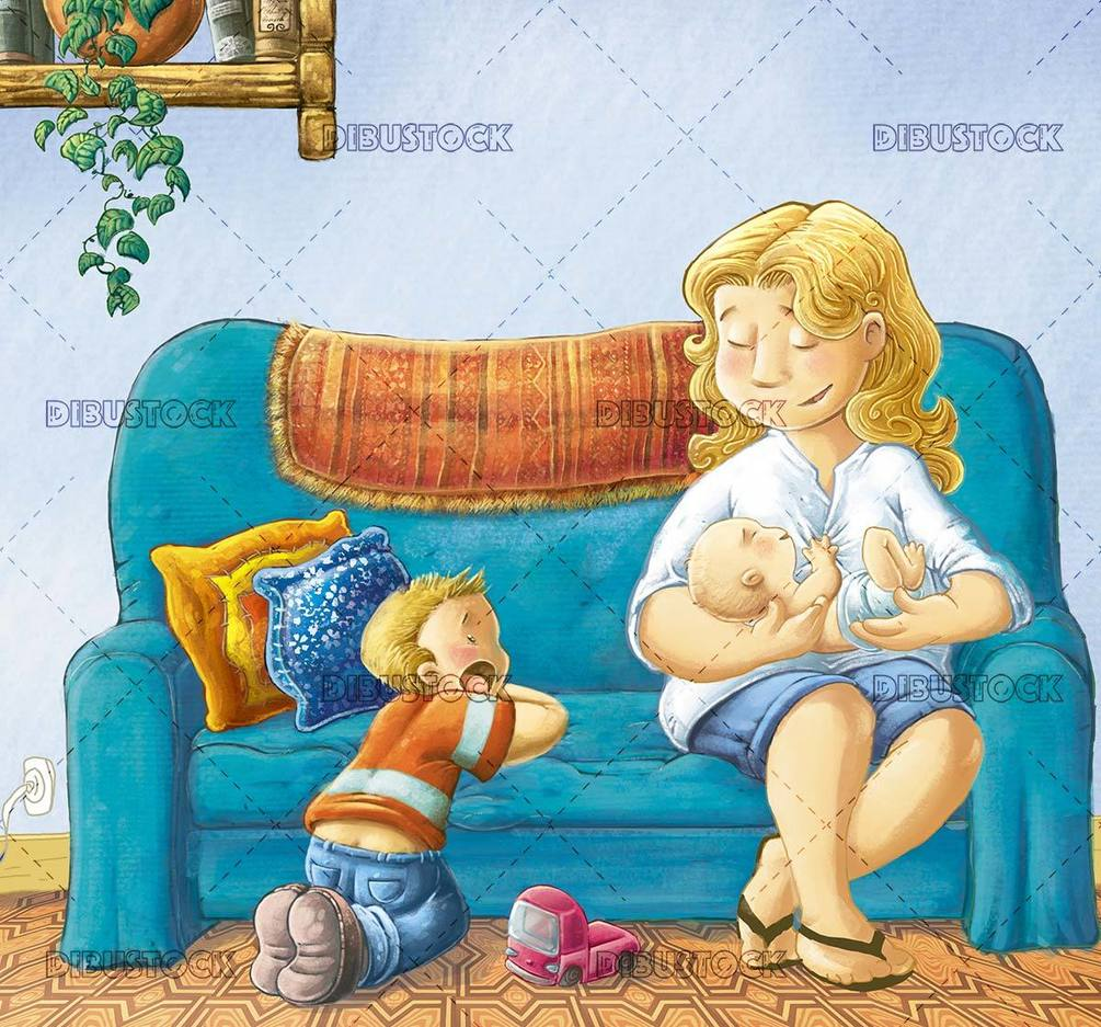 mother with her two son on the couch