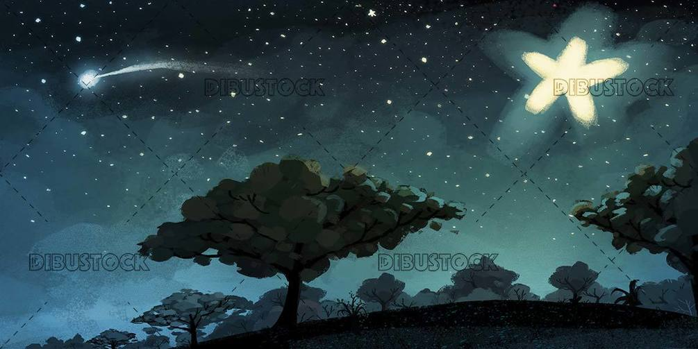 night background with shooting star