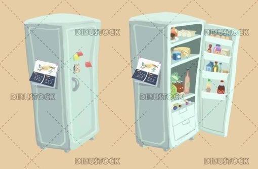 open and closed fridge