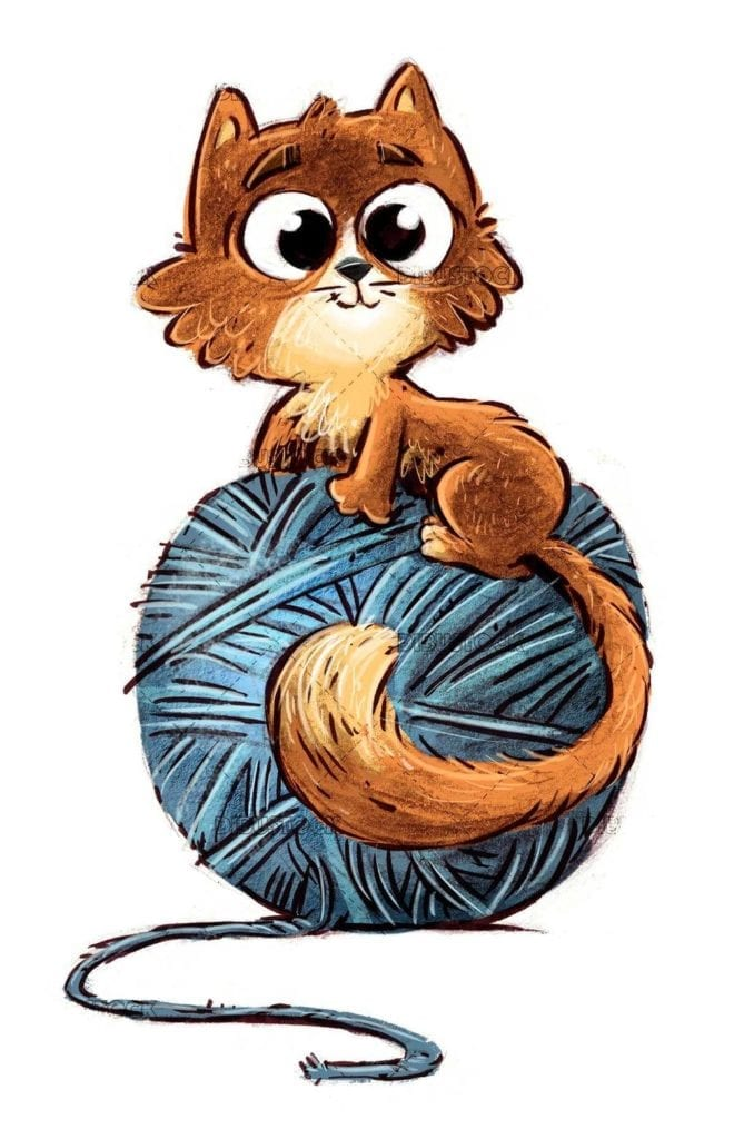 orange cat with blue wool ball