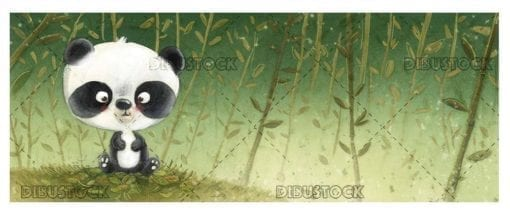 panda bear baby with bamboo plants background