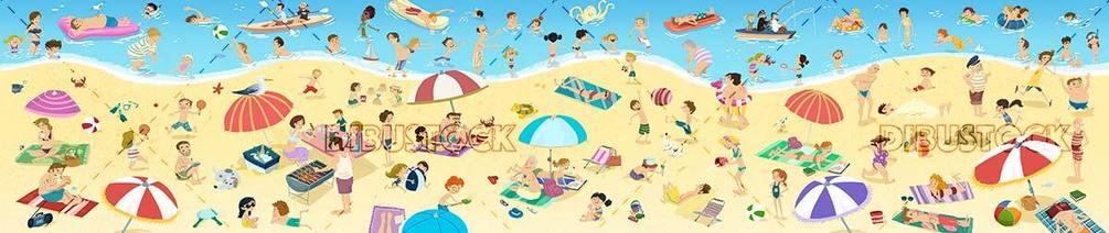 panoramic of people enjoying the beach