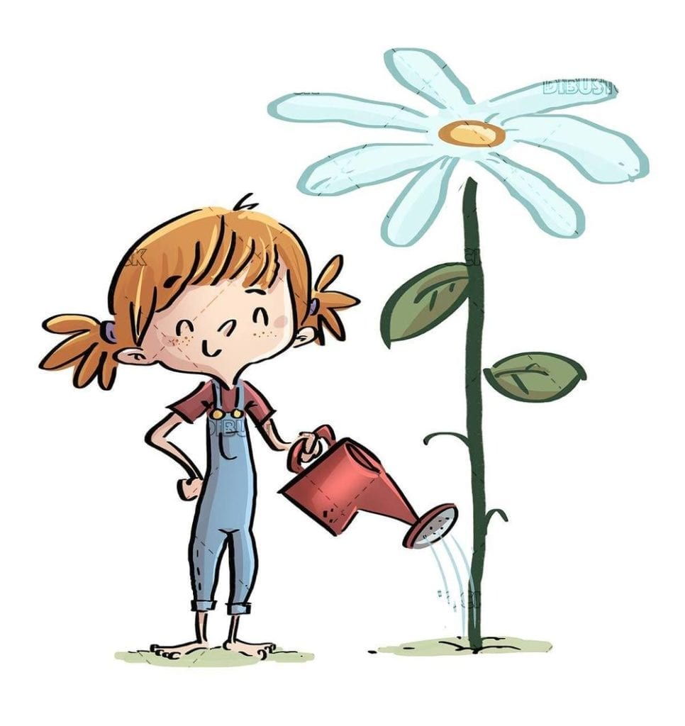 peasant child girl watering a giant flower