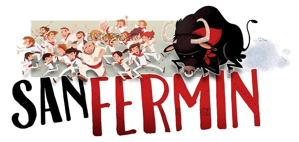 people and bull running in the San Fermin