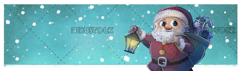 santa claus with lantern in hands while snowing