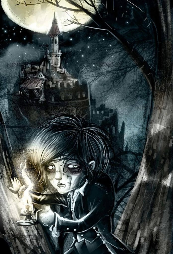 scary boy with castle and night background