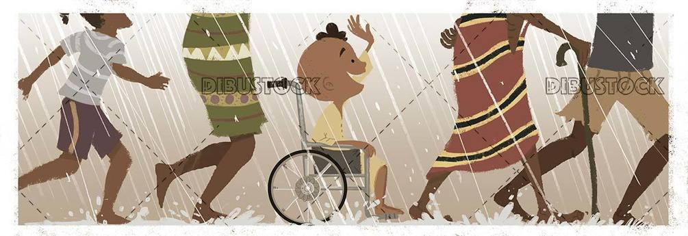sick child with a wheelchair while it rains