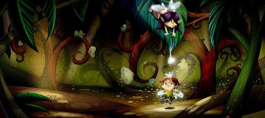 small fairy playing inside the forest