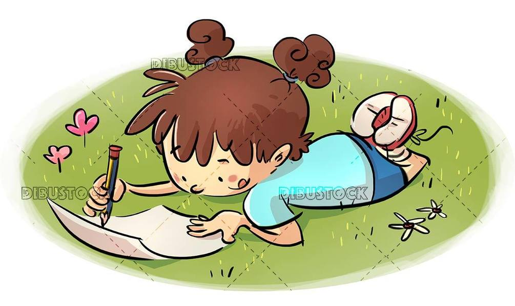 small girl lying on the grass writing on paper