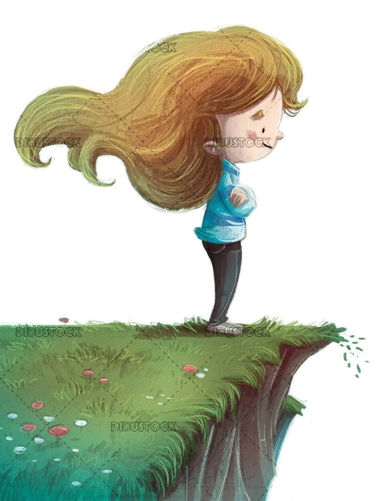 small girl on a precipice observing nature with isolated background