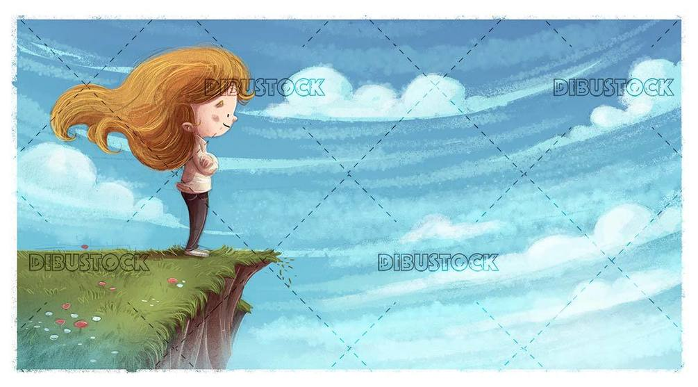 small girl on a precipice observing nature