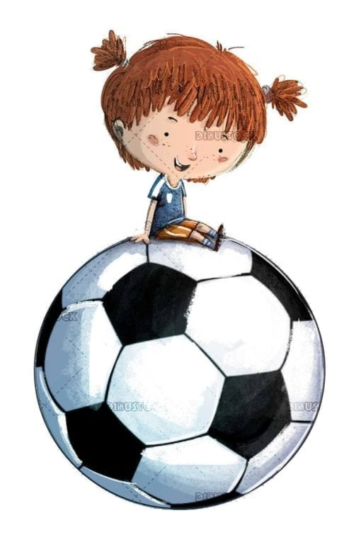small girl with giant soccer ball