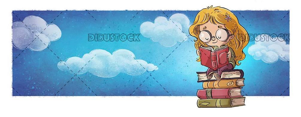 small girl with glasses sitting on top of books reading with the sky in the background