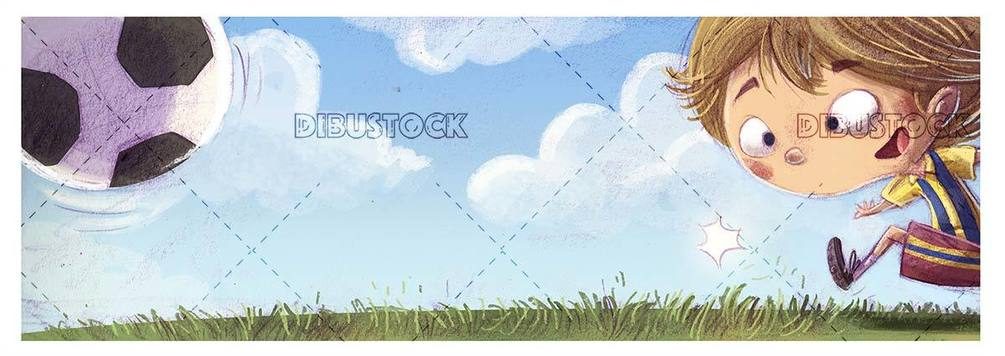soccer player boy kicking a ball on the grass with texture background
