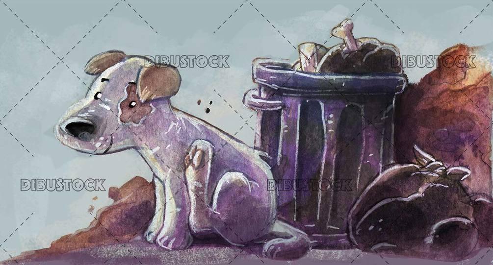 stray dog E2 80 8B E2 80 8Bnext to the trash