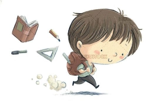 student boy running while things fall out of his backpack on isolated background
