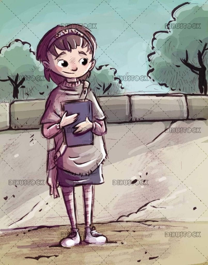 student girl waiting with book in her arms