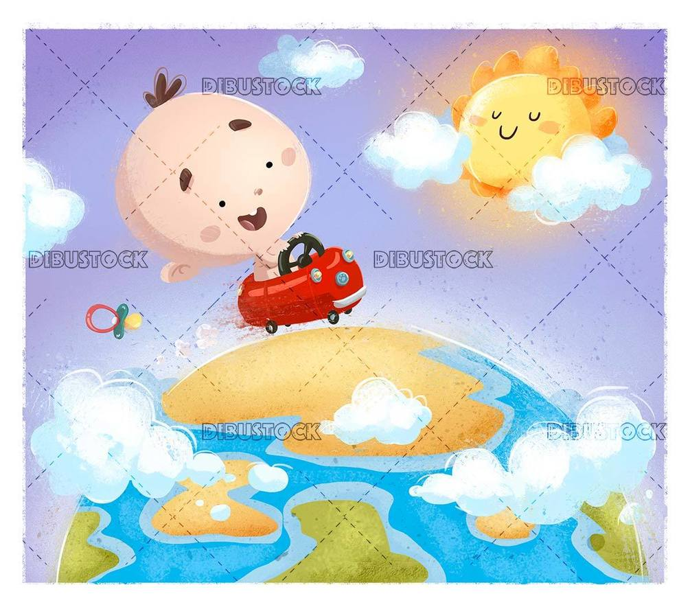 sympathetic baby driving a car on planet earth
