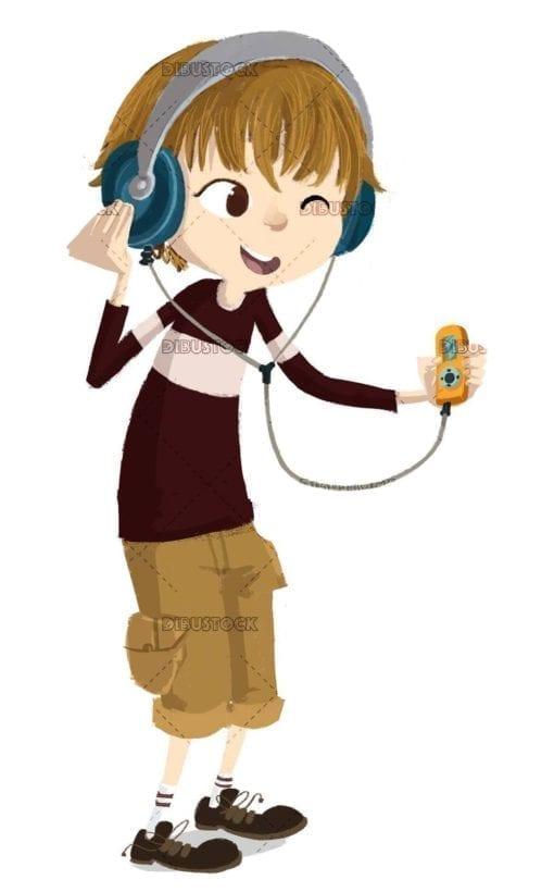 teenage boy with music player