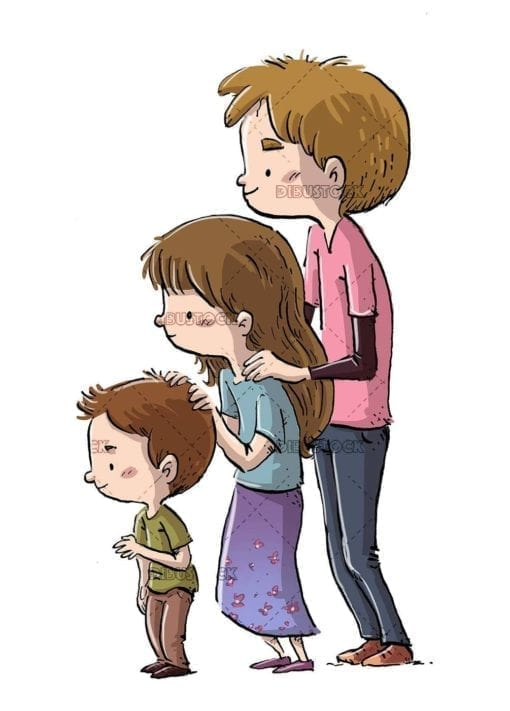 three children brothers together isolated