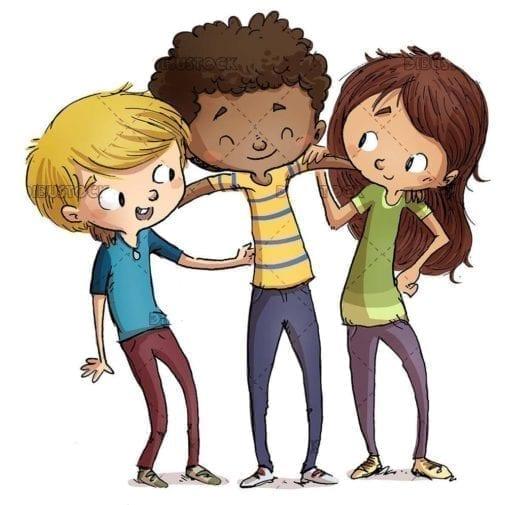 three children friends of different ethnicities hugging
