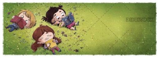 three children lying on the grass reading books
