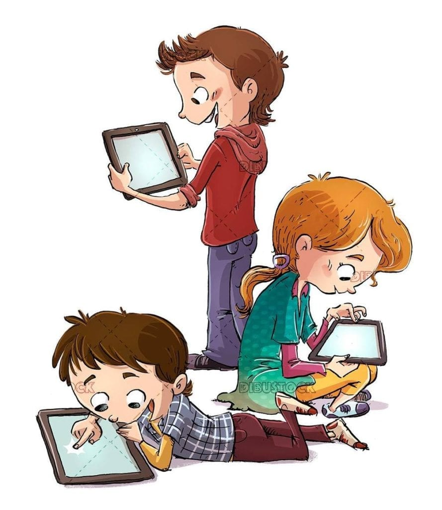three children using tablets