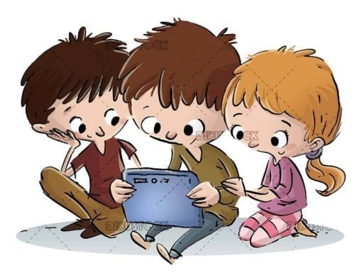 three kids looking at a tablet