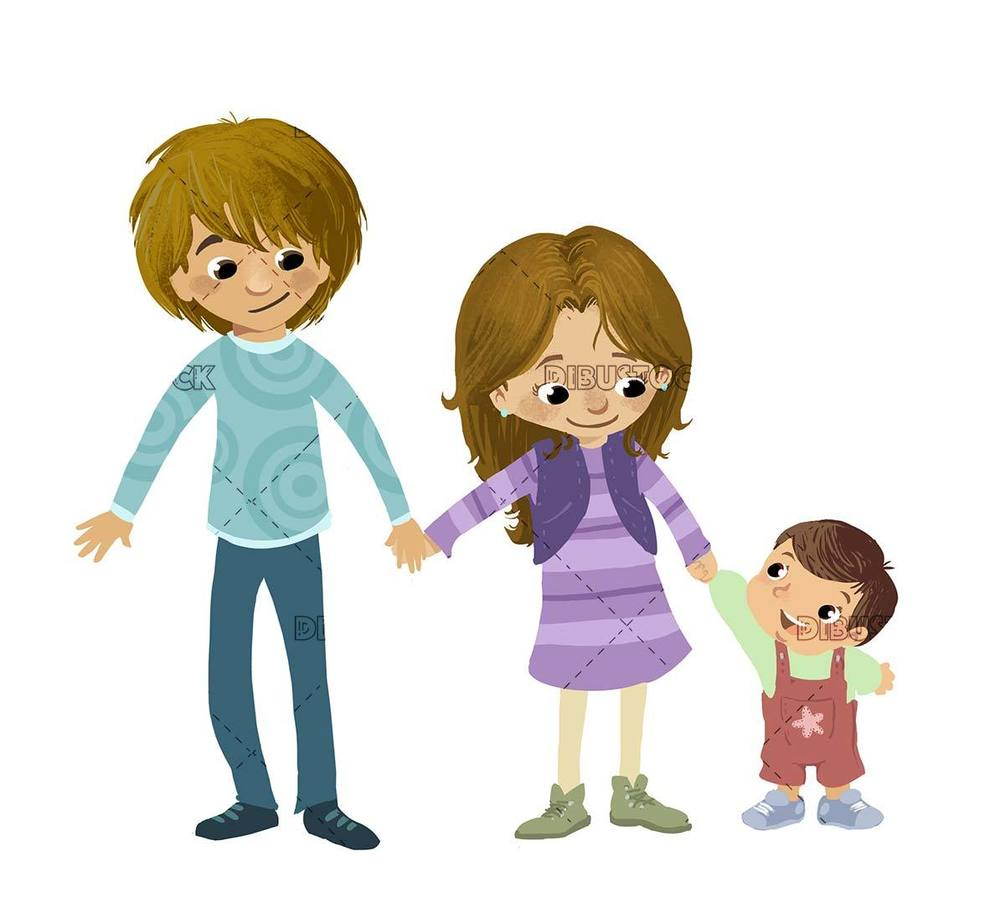 three sibling children holding hands