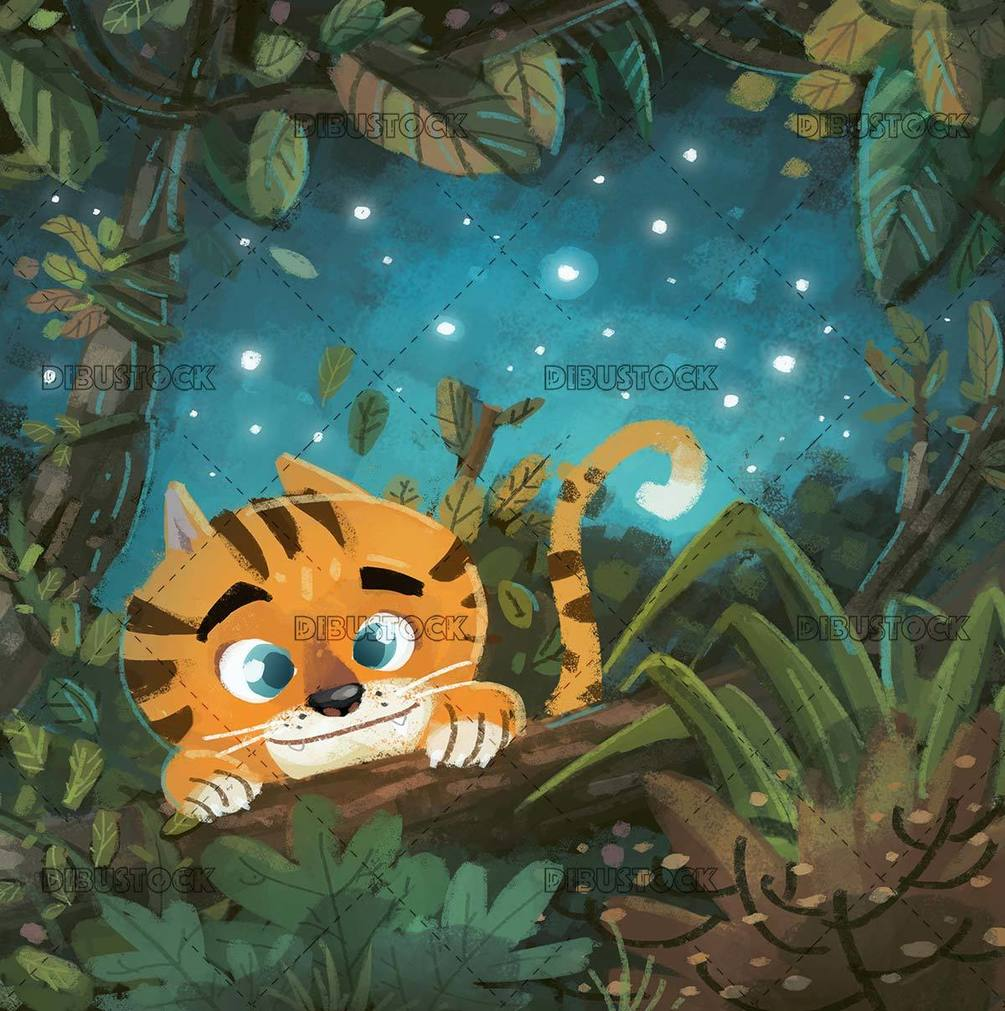 tiger hidden in the jungle at night