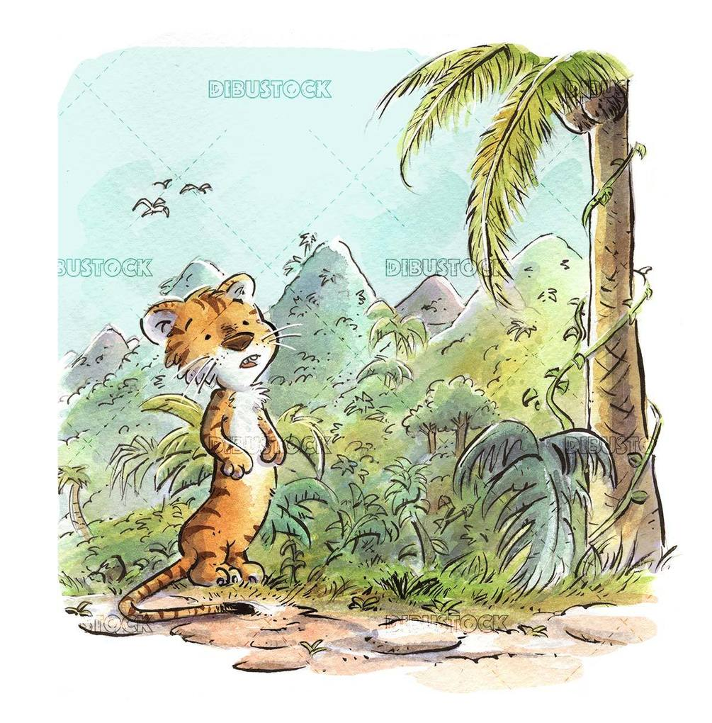 tiger in the jungle with watercolor