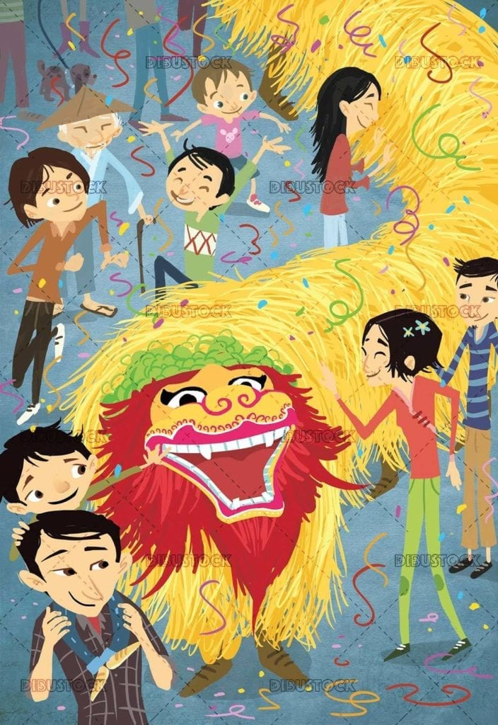 traditional chinese party with dragon