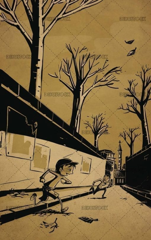 two children running through the streets of a town