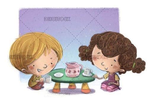 two children sitting playing tea