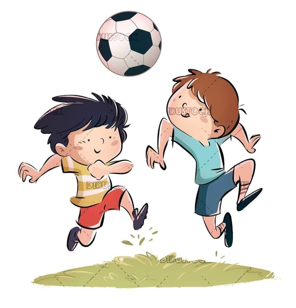 two kids playing soccer isolated