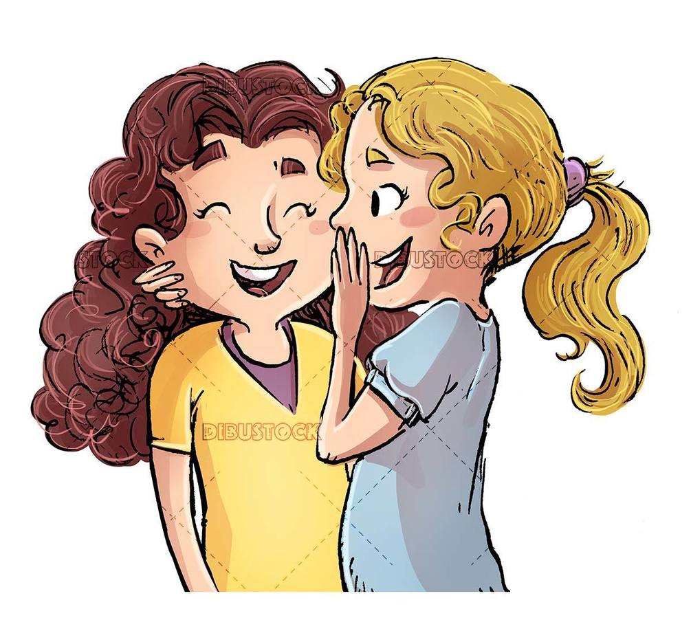 two little girls whispering in their ears