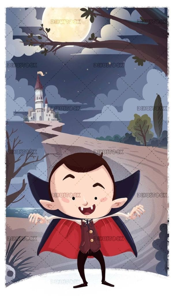 vampire boy in front of a night castle