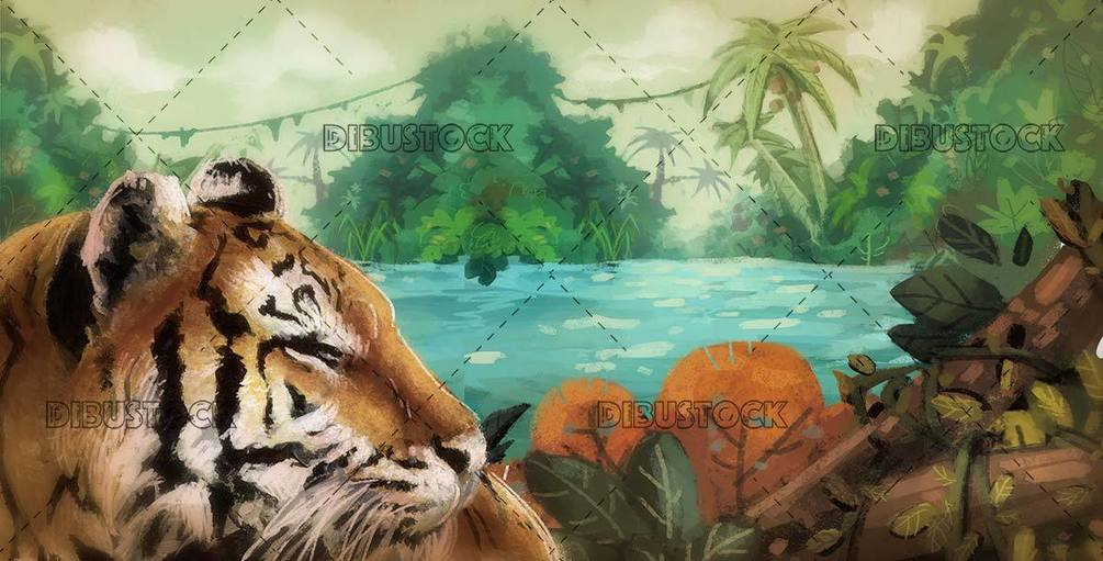 wild tiger face with jungle landscape in background