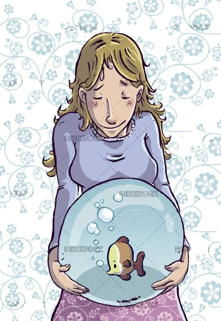 woman with fishbowl in her belly