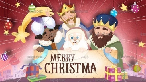 Christmas greeting with the three wise men and Santa Claus on a stage