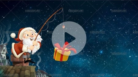 Santa claus navidad seated in a chimney with a fishing gift
