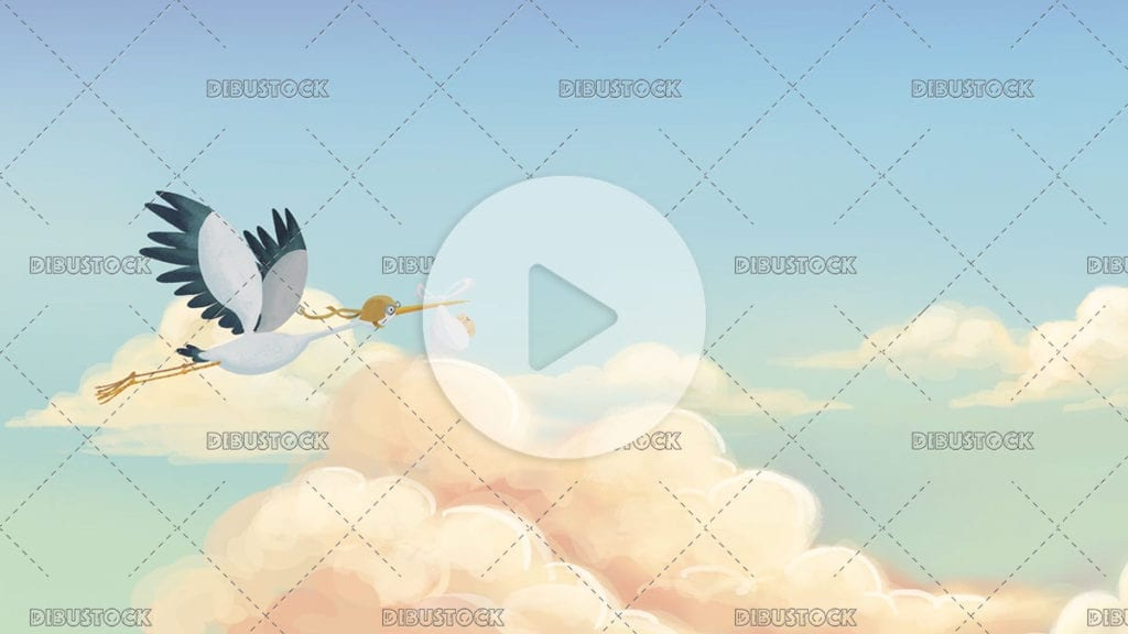 stork flying among the clouds with a baby