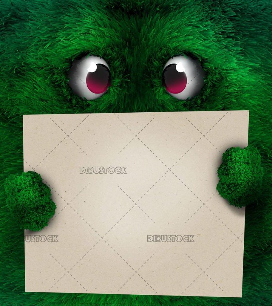 Cara plana peluda con cartel verde