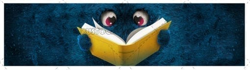 Cara plana peluda con libro horizontal